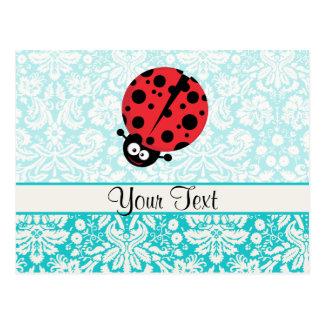 Teal Damask Pattern Ladybug Postcard