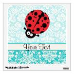 Teal Damask Pattern Ladybug Wall Sticker