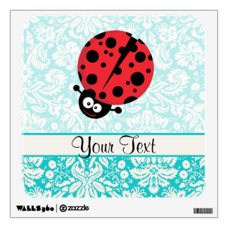 Teal Damask Pattern Ladybug Room Decals