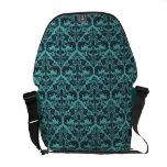 Teal Damask Pattern Messenger Bag