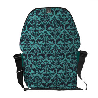 Teal Damask Pattern Messenger Bag