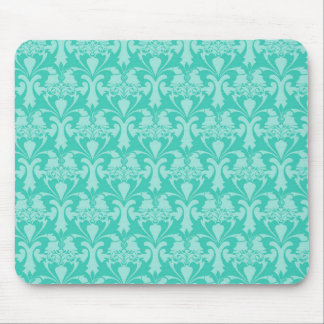 Teal Damask Pattern Mouse Pad