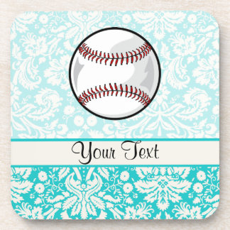 Teal Damask Pattern Softball Beverage Coaster
