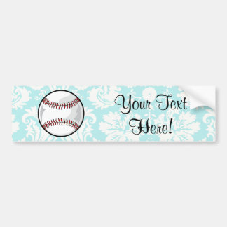 Teal Damask Pattern Softball Car Bumper Sticker