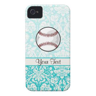 Teal Damask Pattern Softball Case-Mate iPhone 4 Case