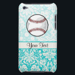 "Teal Damask Pattern Softball iPod Touch Case-Mate Case<br><div class=""desc"">You will love this cute teal damask pattern Baseball softball player design. Great for gifts! Available on tee shirts, smart phone cases, mousepads, keychains, posters, cards, electronic covers, computer laptop / notebook sleeves, caps, mugs, and more! Visit our site for a custom gift case for Samsung Galaxy S3, iphone 5,...</div>"
