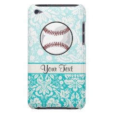 Teal Damask Pattern Softball Ipod Touch Case-mate Case at Zazzle