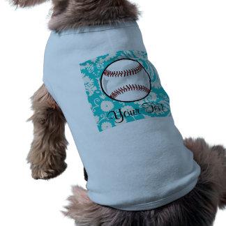 Teal Damask Pattern Softball Pet Clothing