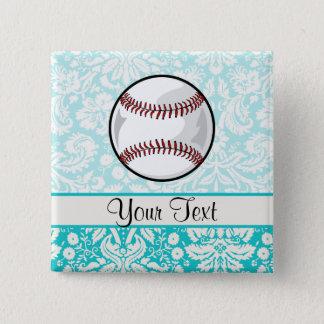 Teal Damask Pattern Softball Pinback Button