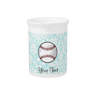 Teal Damask Pattern Softball Beverage Pitcher