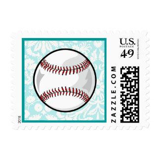 Teal Damask Pattern Softball Postage Stamp