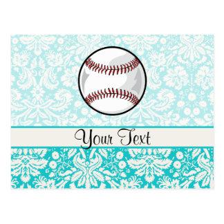 Teal Damask Pattern Softball Postcard