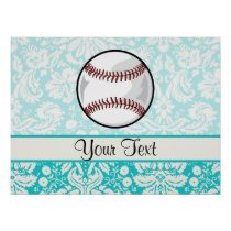 Teal Damask Pattern Softball Poster