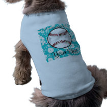 Teal Damask Pattern Softball Shirt