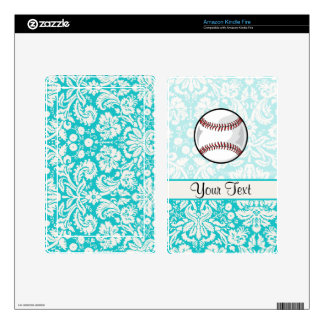 Teal Damask Pattern Softball Skin For Kindle Fire