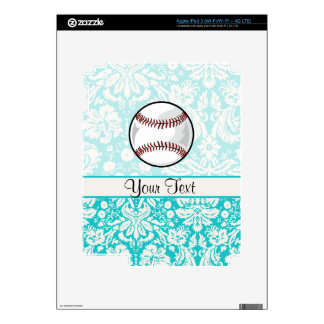 Teal Damask Pattern Softball Decals For iPad 3