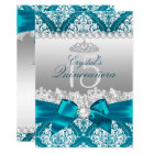 Teal Damask Pearl Bow Quinceanera Invite