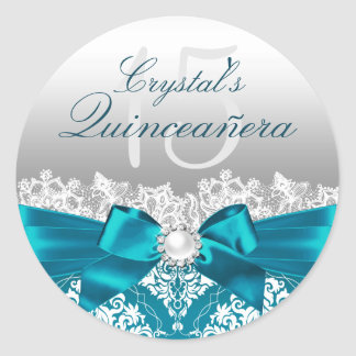 Teal Damask & Pearl Bow Quinceanera Sticker