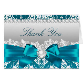 Teal Damask & Pearl Bow Thank You Card