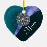 Teal damask personalized mom christmas tree ornaments