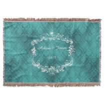 Teal Damask Personalized Wedding Throw Blanket