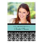 Teal Damask Photo Bridal Shower Invitation Cards