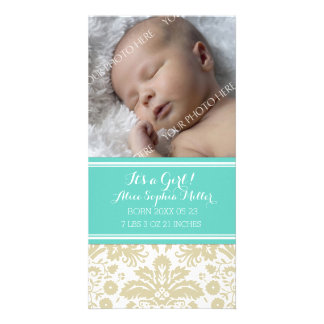 Teal Damask Photo New Baby Birth Announcement