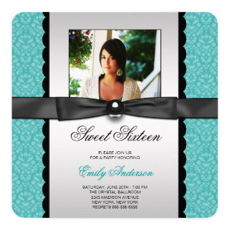 Teal Damask Photo Sweet 16 Party 5.25x5.25 Square Paper Invitation Card