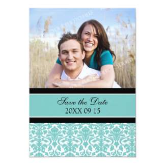 Teal Damask Photo Wedding Save the Date Card