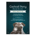 Teal Damask Pug & Wine Cocktail Party Invitations