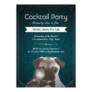 "Teal Damask Pug & Wine Cocktail Party Invitations 5"" X 7"" Invitation Card"