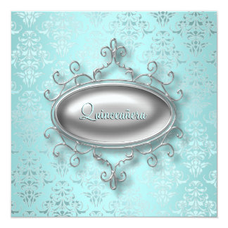 Teal Damask Quinceanera Card