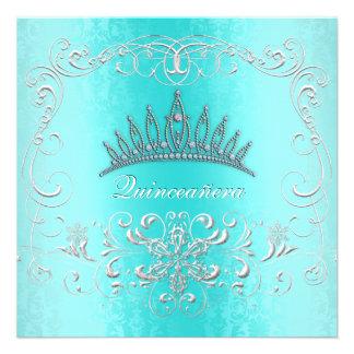 Teal Damask Quinceanera Diamond Tiara Invite