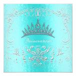 "Teal Damask Quinceanera Diamond Tiara Invite 5.25"" Square Invitation Card"