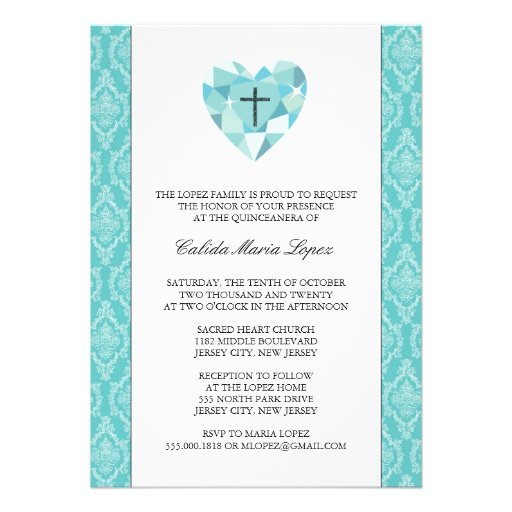"Teal Damask Quinceanera Invitations 5"" X 7"" Invitation ..."