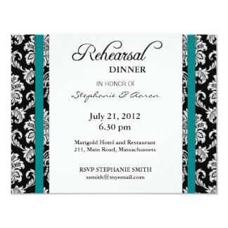 Teal Damask Rehearsal Dinner Card