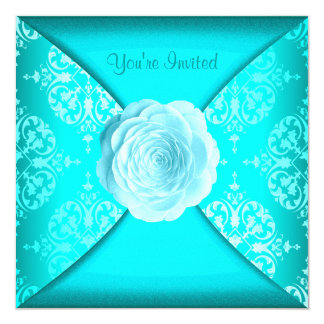 Teal Damask Rose Teal Blue All Occasion Card