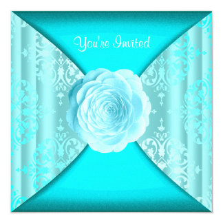 Teal Damask Rose Teal Blue All Occasion Card