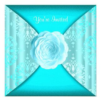 Teal Damask Rose Teal Blue All Occasion Invitation