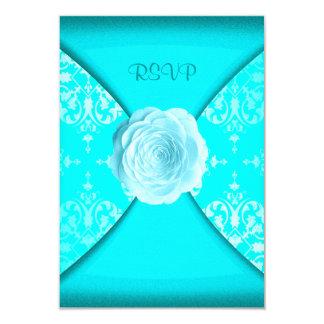 Teal Damask Rose Teal Blue All Occasion RSVP Card