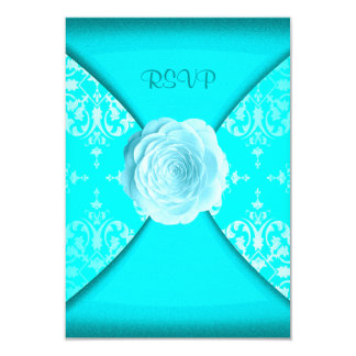 Teal Damask Rose Teal Blue All Occasion RSVP Announcement