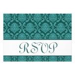 Teal Damask RSVP Wedding Response Card Announcement