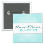 Teal Damask Salon Name Badge 2 Inch Square Button