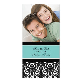 Teal Damask Save the Date Wedding Photo Cards