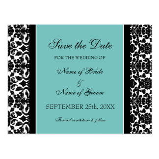 Teal Damask Save the Date Wedding Postcards