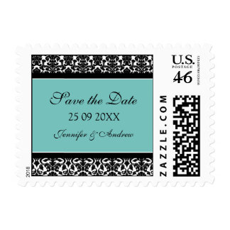 Teal Damask Save the Date Wedding Stamps