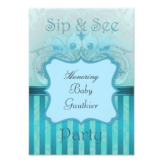 "Teal Damask Sip & See Baby Shower Invitation 5"" X 7"" Invitation Card"