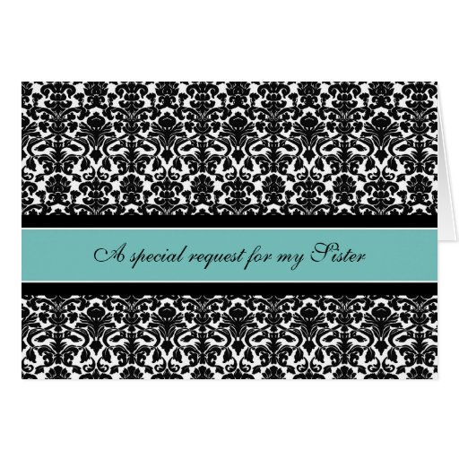 Teal Damask Sister Maid of Honor Invitation Greeting Card