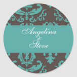 Teal damask stickers