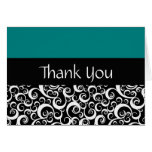 Teal Damask Swirls Thank You Cards